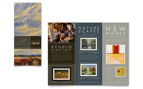 Art Gallery & Artist Tri Fold Brochure Template