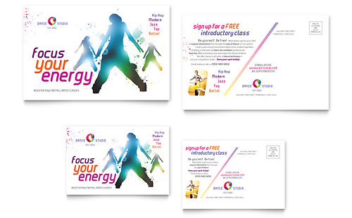 Dance Studio Postcard Template