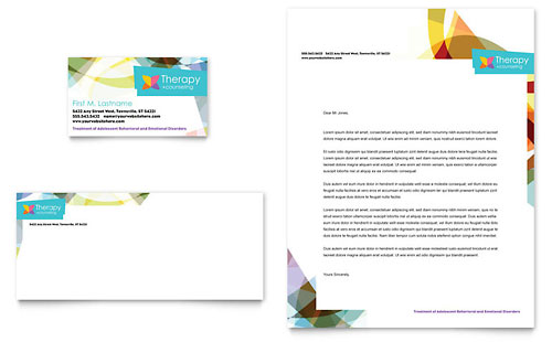 Adolescent Counseling Business Card & Letterhead Template