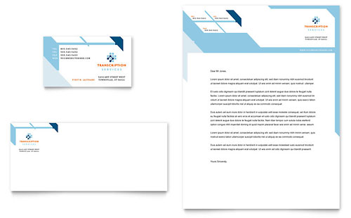 Medical Transcription Business Card & Letterhead Template