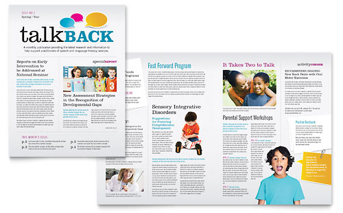 Speech Therapy Education Newsletter Template