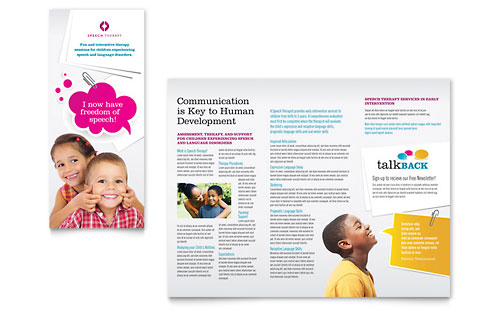 Speech Therapy Tri Fold Brochure Template Design