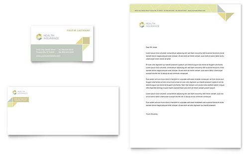 Health Insurance Business Card & Letterhead Template