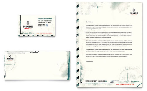 Mining Company Business Card & Letterhead Template Design