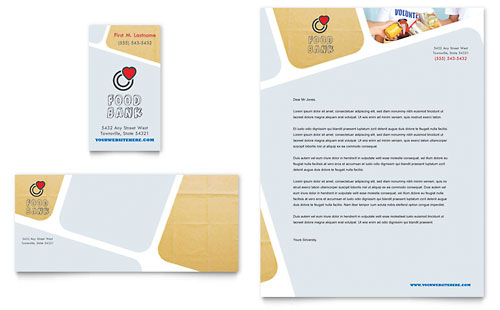 Food Bank Volunteer Business Card & Letterhead Template