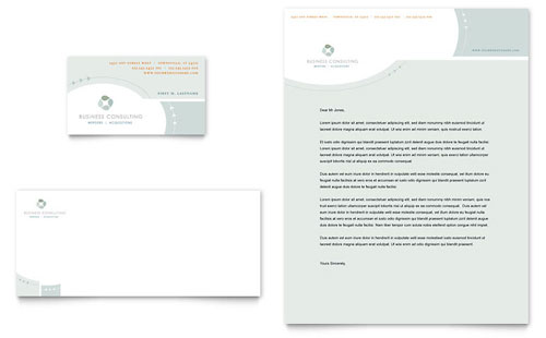 Business Consulting Business Card & Letterhead Template