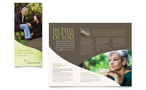 Memorial funeral services brochure templates for Program brochure templates