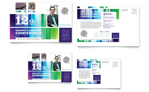 Business Leadership Conference Postcard Template
