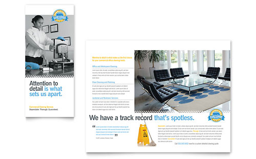 Janitorial & Office Cleaning Tri Fold Brochure Template