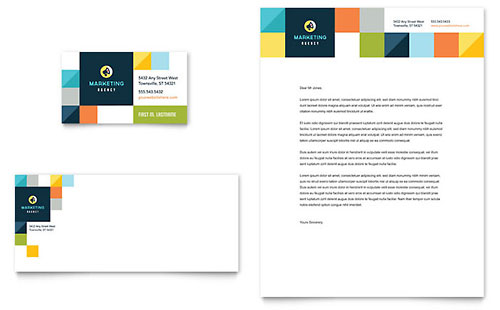 Advertising Company Business Card & Letterhead Template