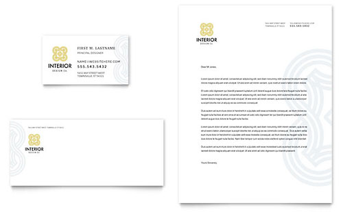 Interior Design Business Card & Letterhead Template