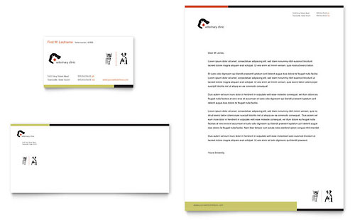 Veterinary Clinic Business Card & Letterhead Template