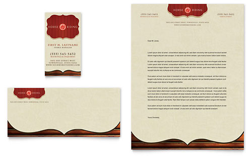 Horse Riding Stables & Camp - Business Card & Letterhead Template