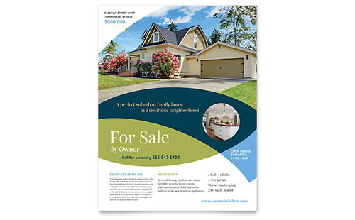 Real estate flyers templates designs for For sale by owner brochure template