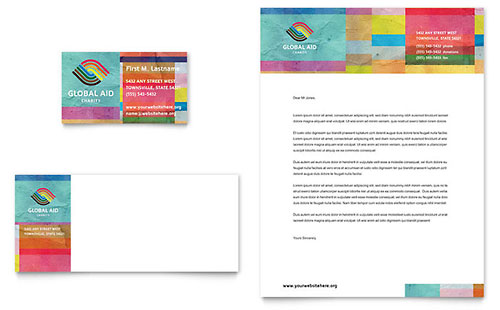 Humanitarian Aid Organization Business Card & Letterhead Template