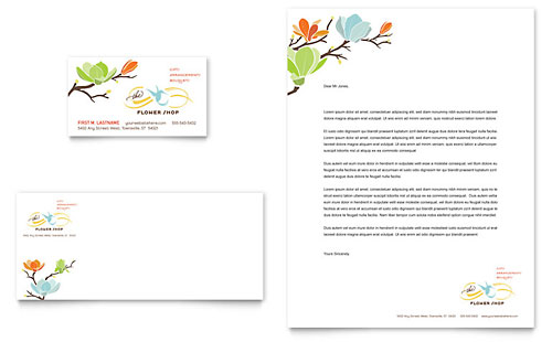 Flower Shop Business Card & Letterhead Template