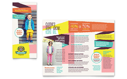 Kids Consignment Shop InDesign Brochure Template
