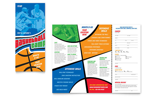 camp brochure template - basketball camp pamphlet templates sports fitness