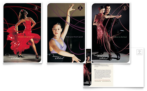 Dance School Postcard Template