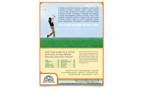 Golf Instructor & Course Flyer Template