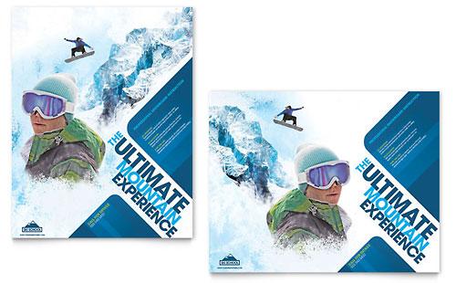 Ski & Snowboard Instructor Poster Template