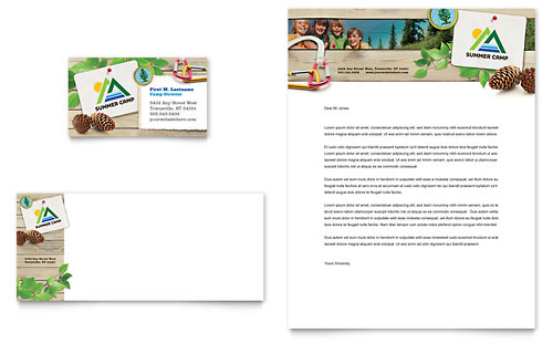 Kids Summer Camp Business Card & Letterhead Template