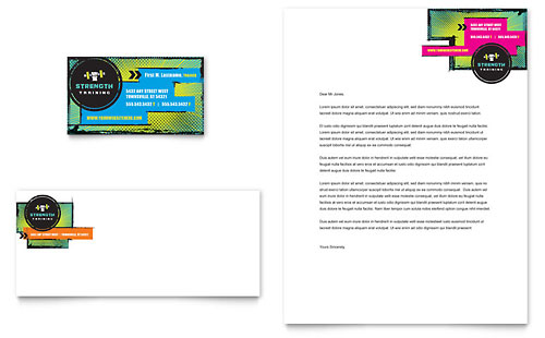 Strength Training Business Card & Letterhead Template