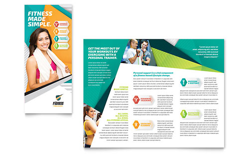Personal training brochure templates sports fitness for Training brochure template