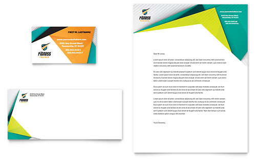 Fitness Trainer Business Card & Letterhead Template