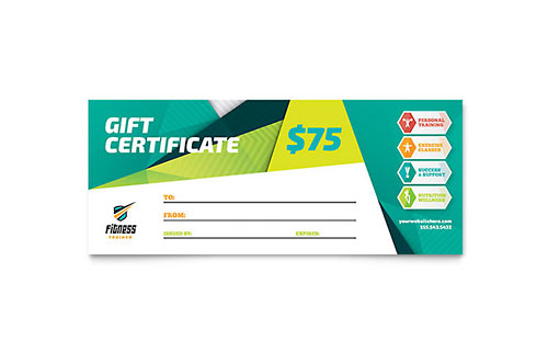 Personal training gift certificates templates designs for Personal trainer gift certificate template