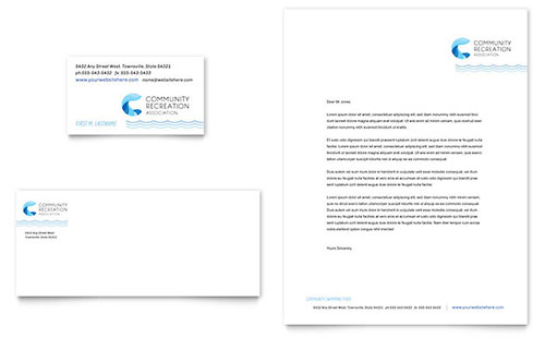 Community Swimming Pool Business Card & Letterhead Template