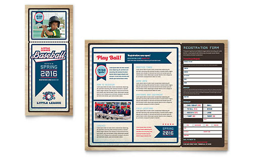 Baseball League Print Design Brochure Template