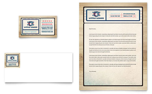 Baseball League Business Card & Letterhead Template