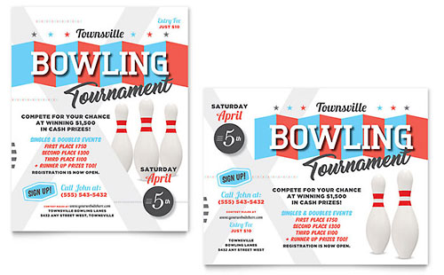 Bowling Poster Template Design
