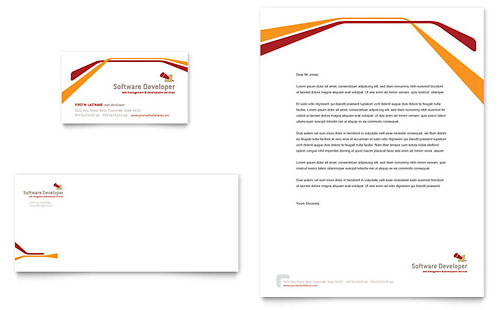 Software Developer Business Card & Letterhead Template