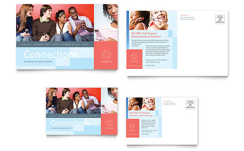 Communications Company Postcard Template