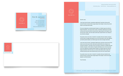 Communications Company Business Card & Letterhead Template