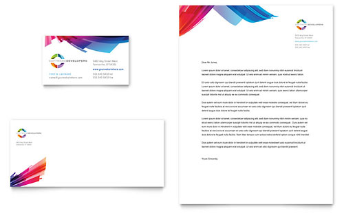 Software Solutions Business Card & Letterhead Template