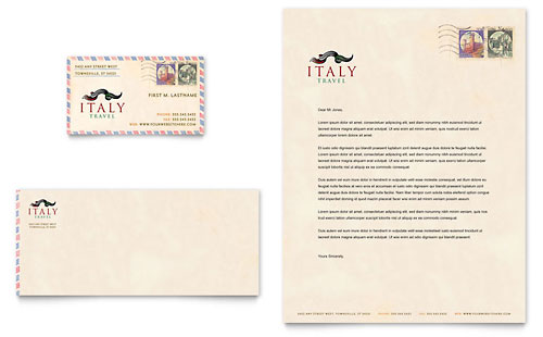 Italy Travel Business Card & Letterhead Template
