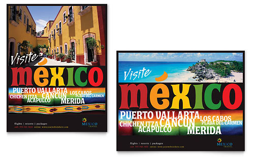 Mexico Travel Poster Template