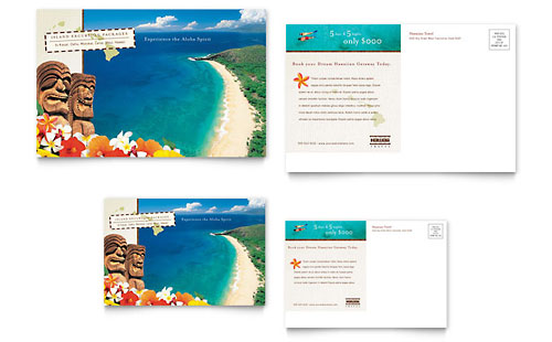 Hawaii Travel Vacation Postcard Template
