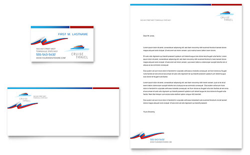 Cruise Travel Business Card & Letterhead Template