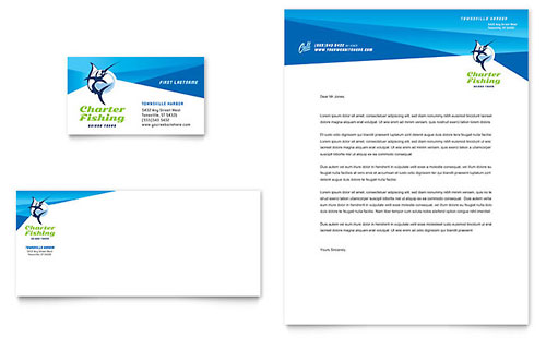 Fishing Charter & Guide Business Card & Letterhead Template