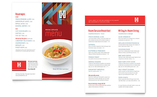 Hotel Menu Template - Pages