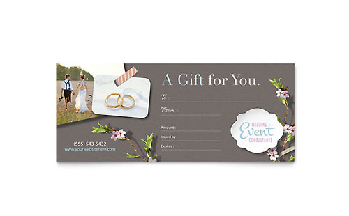 Wedding Planner Gift Certificate Template