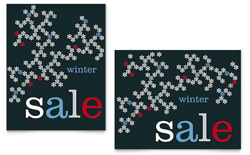 Snowflake Pattern Sale Poster Template