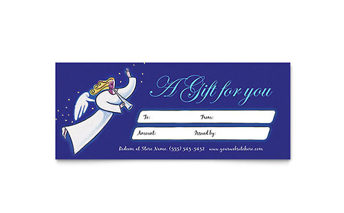 Christmas Angel Gift Certificate Template
