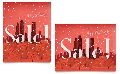 Cityscape Winter Holiday Sale Poster Template