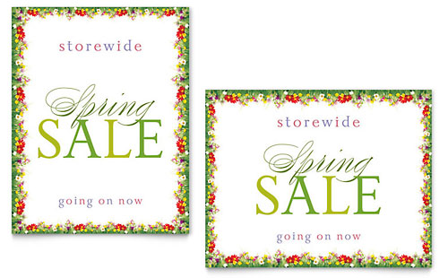 Floral Border Sale Poster Template