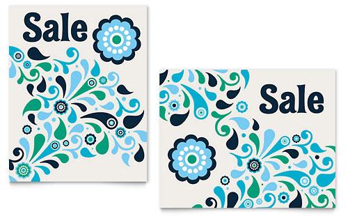 Winter Color Floral Sale Poster Template